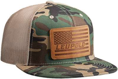 #511 Leather Flag Flat Bill Camo/Khaki