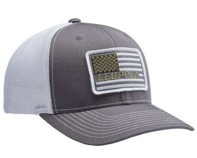 #112 Flag Patch Trucker Charcoal/White